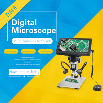1600X DM9DDB Microscopio Digital de 7 pulgadas de Pantalla Ajustable 1080p Full HD de la Cámara USB Microscopio Digital con 8 Dimmable LLEVÓ Luces 126160